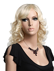 Capless High Quality Synthetic Medium Length Blonde Fashion Wavy Wig