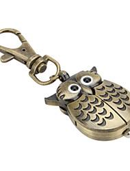 coruja grande, com muitas penas de liga unisex de quartzo analógico keychain relógio (bronze)