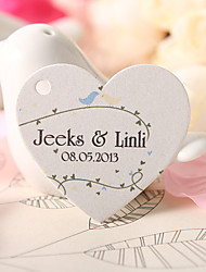 Personalized Heart Shaped Favor Tag - Little Birds (Set of 60)