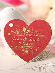Personalized Heart Shaped Favor Tag - Red (Set of 60)