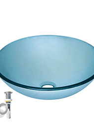 Tempered Glass Vessel Round Sink With Pop up and Mounting ring