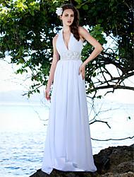 Sheath/Column Plus Sizes Wedding Dress - Ivory Sweep/Brush Train V-neck Chiffon