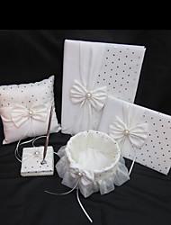 Свадебная коллекция набор из белого атласа (свадебный обет книги, гостевая книга, ручка, кольцо подушки, цветочные корзины)