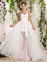 LAN TING BRIDE A-line Princess Wedding Dress - Chic & Modern Elegant & Luxurious Two-in-One Floor-length Sweetheart Tulle with Appliques