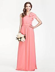 Lanting Bride® Floor-length Chiffon Bridesmaid Dress - Sheath / Column One Shoulder Plus Size / Petite withDraping / Sash / Ribbon / Side