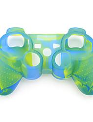 protection étui en silicone à double couleur pour ps3 contrôleur (bleu et vert)