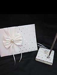 White Bow Wedding Guest Book and Pen Set In White Satin With Sequin Sign In Book