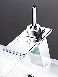 Waterfall Contemporary Bathroom Sink Faucet - Chrome Finish