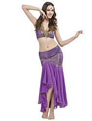 Belly Dance Outfits Women's Training Crystal Cotton Beading Sleeveless Dropped