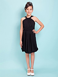Knee-length Chiffon Junior Bridesmaid Dress - Black Sheath/Column Straps