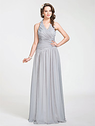 Floor-length Halter Bridesmaid Dress - Open Back Sleeveless Chiffon