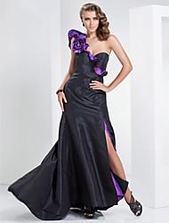 uma linha de um ombro varrer / escova de trem tafetá vestido de noite / baile de finalistas
