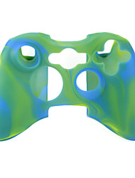 Protective Dual-Color Silicone Case for Xbox 360 Controller (Green and Blue)