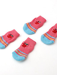 Apple Style Paw Socks for Dogs (S-L, Pink)