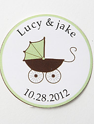 Personalized Round Favor Stickers – Pram  (Set of 36)