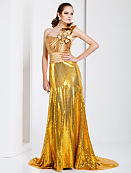 TS Couture Formal Evening Dress - Gold Plus Sizes / Petite Sheath/Column One Shoulder Sweep/Brush Train Stretch Satin / Sequined