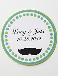 Personalized Round Favor Stickers – Mustache (Set of 36)