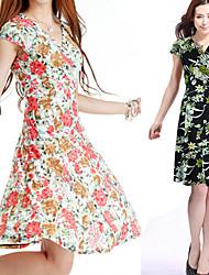 V-neck Flower Printed Shaped Dress