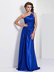 Fiesta formal/Fiesta de baile/Baile Militar Vestido - Azul Real Corte Recto Hasta el Suelo - Solo Hombro Charmeuse
