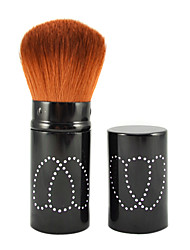 Retractable Cosmetic Face Makeup Brush In Black Tube