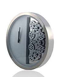 """15.25""""H Faceoff Stainless Steel Wall Clock with Wheel Gears"""
