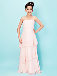 Floor-length Chiffon / Stretch Satin Junior Bridesmaid Dress - Pearl Pink A-line / Princess Spaghetti Straps / Sweetheart