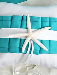 temático de la playa azul de la boda anillo de almohada con estrellas de mar