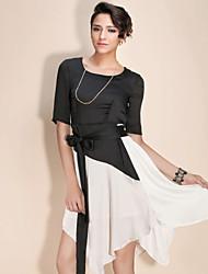 ts asymétrique couleur de blocage robe