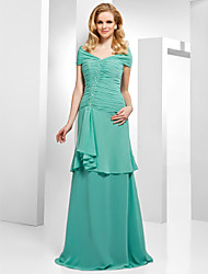 Formal Evening Dress - Jade Plus Sizes / Petite A-line / Princess Off-the-shoulder Floor-length Chiffon