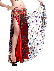 Dancewear Satin With Pattern/Print Performance Belly Dance Skirt For Ladies More Colors