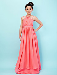 Lanting Bride® Floor-length Chiffon / Satin Junior Bridesmaid Dress A-line / Princess Halter / Spaghetti Straps withDraping / Sash /