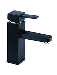 Contemporary Centerset Black Square Bathroom Sink Faucet - Painting Finish