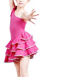 dancewear polyester robes une épaule latines pour les enfants des couleurs plus