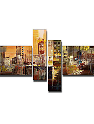 Hand-Painted Abstract / Abstract Landscape Four Panels Canvas Oil Painting For Home Decoration