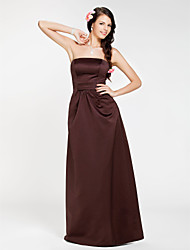 Lanting Bride® Floor-length Satin Bridesmaid Dress Sheath / Column Strapless Plus Size / Petite with Draping