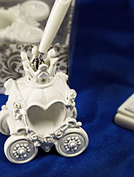 conto de fadas caneta casamento treinador definido em resina branca