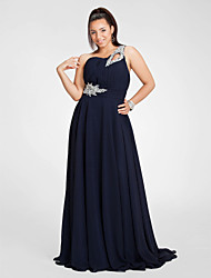TS Couture Plus Size Prom Formal Evening Dress - Sheath / Column One Shoulder Floor-length Chiffon with Beading Draping Side