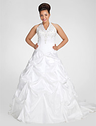 Lanting Ball Gown Plus Sizes Wedding Dress - White Chapel Train V-neck Taffeta