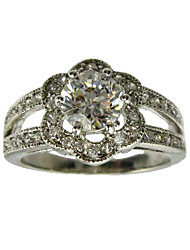 Round Cubic Zirconia Fashion Ring(More Colors)