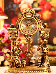 Golden Antique Inspired Table Clock in Polyresin