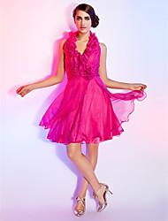 Dress - Fuchsia Plus Sizes / Petite A-line / Princess Halter Knee-length Chiffon