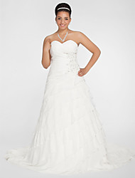LAN TING BRIDE Plus Size A-line Princess Wedding Dress - See-Through Chapel Train Sweetheart Chiffon with Appliques Beading