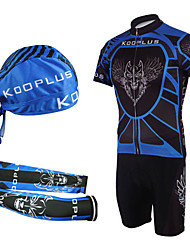 Cycling BIB Suits with Head Scarf and Arm Warmers(Blue and Black)