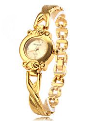 Women's Quartz Analog Golden Alloy Band Bracelet Watch