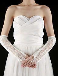 Elbow Length Fingerless Glove Satin/Lace Bridal Gloves