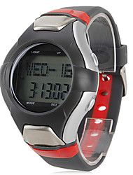 Men's Multi-Functional Style Rubber Digital Automatic Wrist Watch with Heart Rate Monitor (Black)