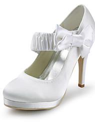 salto agulha de cetim fechada bombas toe com sapatos de casamento bowknot (mais cores)