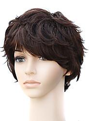 Capless Natural Look Wavy Short Brown Human Hair Wig