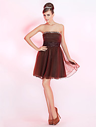 uma linha strapless curto / mini vestido de cocktail tule