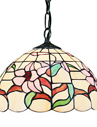 60W Tiffany Pendent Light with 1 Light in Flower Pattern